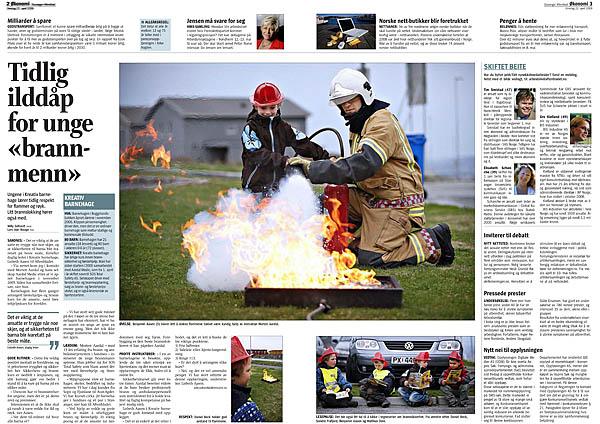 Slik så det ut på innsiden med saken om brannvernopplæring i barnehager. Faksimile av Stavanger Aftenblad