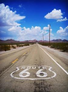 Route 66 gjennom Mojave-ørkenen.