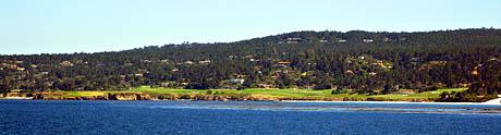 Utsikt mot Pebble Beach, som er kjent for sine golfbaner.
