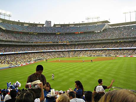 Los Angeles og baseballkamp mellom LA Dodgers og Atlanta Braves. Kjedelig kamp, men mye morsomt å se på tribunen.