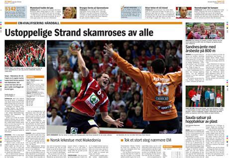 Slik så hovedbildet ut, og sidene Aftenbladet. Dette var det beste bildet jeg hadde av Kjetil Strand, men jeg er ikke 100% fornøyd med egen innsats. Faksimile: Stavanger Aftenblad