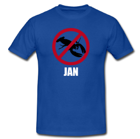 """Min t-skjorte med """"Jan"""" på."""